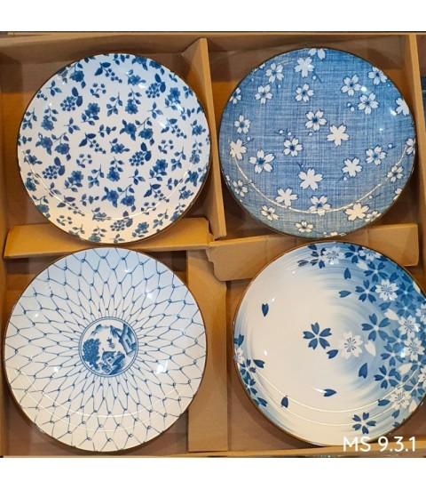 Set 4 đĩa sứ hoa văn Nhật
