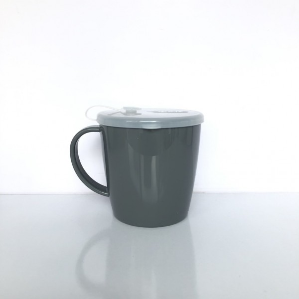 Cốc uống nước có lỗ cắm ống hút 300ml-màu nâu