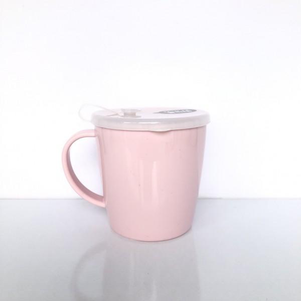 Cốc uống nước có lỗ cắm ống hút 300ml-màu hồng