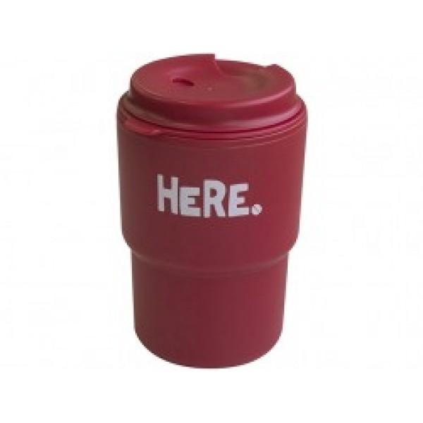 Cốc uống nước kèm nắp xoay có lỗ cắm ống hút (màu đỏ)