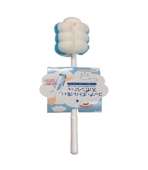 Dụng cụ cọ rửa chai lọ, bình sữa mút xốp (màu xanh,trắng)
