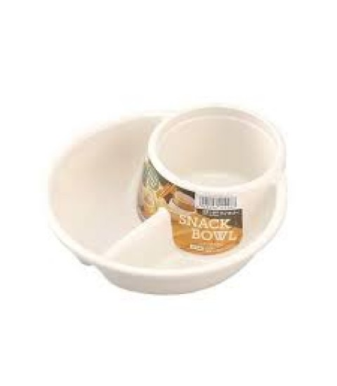 Khay ăn chia 2 ngăn sâu lòng kèm khay để cốc màu trắng