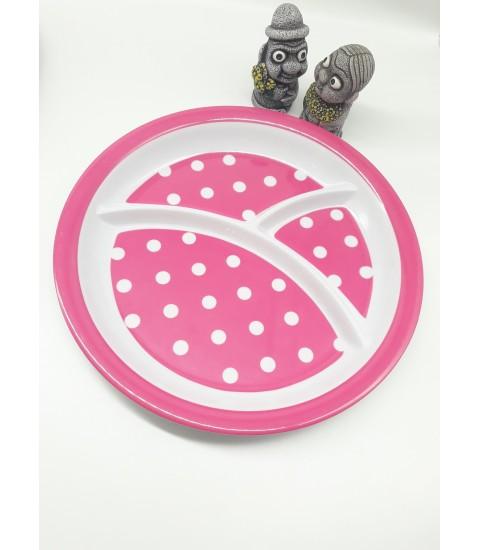 Khay ăn chia 3 ngăn cho bé họa tiết chấm bi, dáng tròn màu hồng đậm