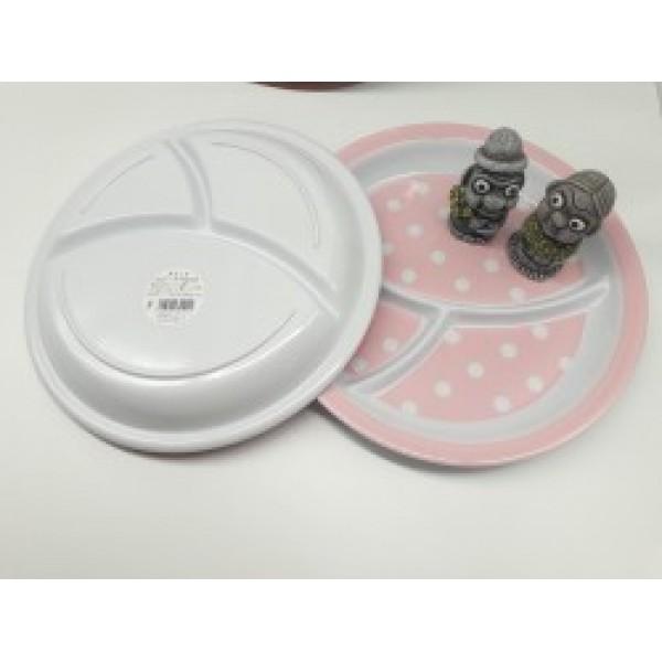 Khay ăn chia 3 ngăn cho bé họa tiết chấm bi, dáng tròn màu hồng nhạt