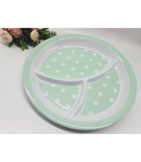 Khay ăn chia 3 ngăn cho bé họa tiết chấm bi, dáng tròn màu xanh lá