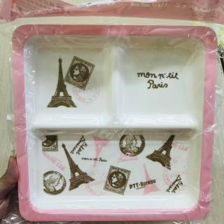 Khay ăn chia 3 ngăn cho bé họa tiết, màu hồng nhạt
