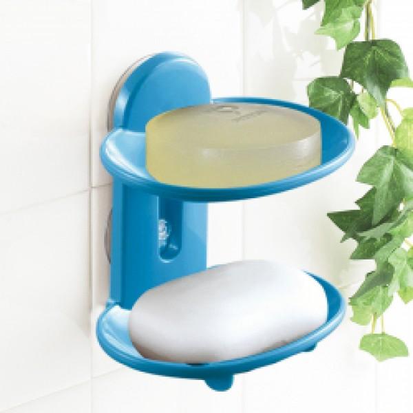 Khay đựng xà bông hút chân không 2 tầng Jabu (màu xanh)