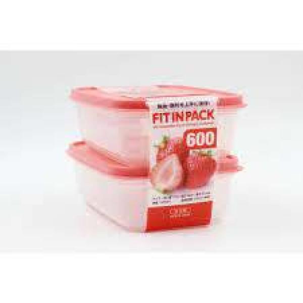 Set 2 hộp nhựa nắp dẻo 600ml (màu hồng)