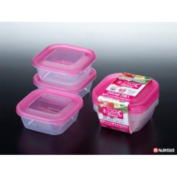 Set 3 hộp nhựa 380ml màu hồng