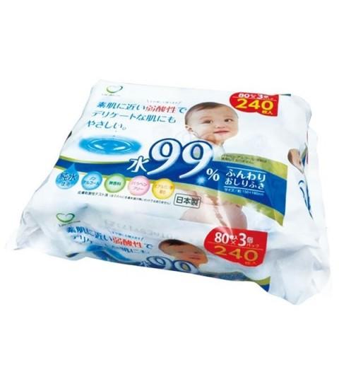 Set 3 gói giấy ướt 80 tờ cho bé (100% tinh khiết)
