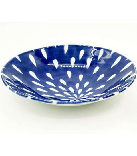 Đĩa ceramic men lam họa tiết hoa cúc