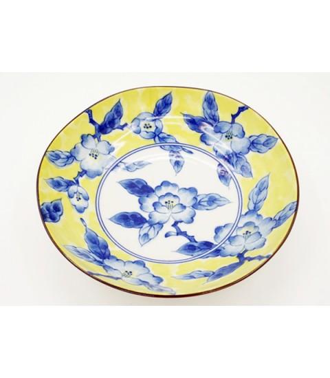 Đĩa ceramic sâu lòng họa tiết mẫu hoa màu