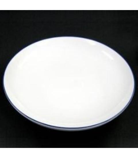 Đĩa sứ hình tròn màu trắng 15,5cm viền xanh lam