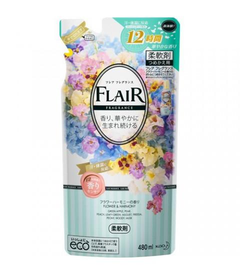 Gói nước xả mềm vải Flair KAO hương hoa 480ml - màu xanh