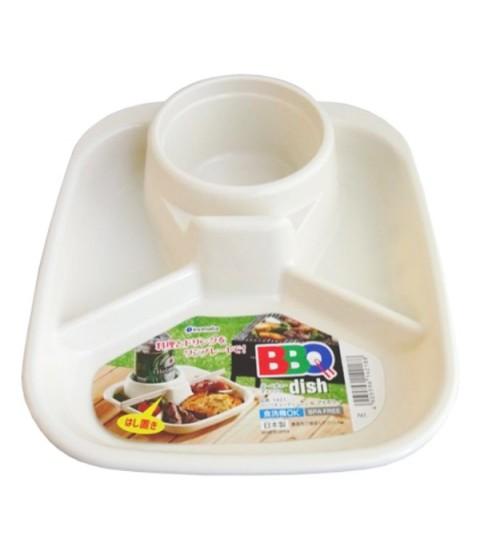 Khay ăn 3 ngăn có khay để cốc và thìa dĩa - màu trắng