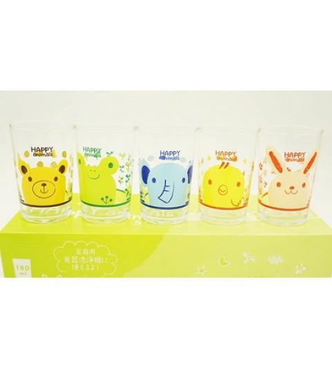 Bộ 5 cốc thủy tinh hình động vật 180ml.