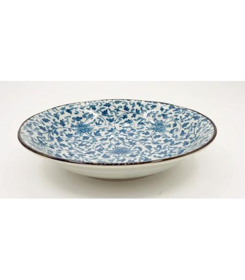Đĩa ceramic sâu lòng viền nâu mẫu hoa văn cao cấp.