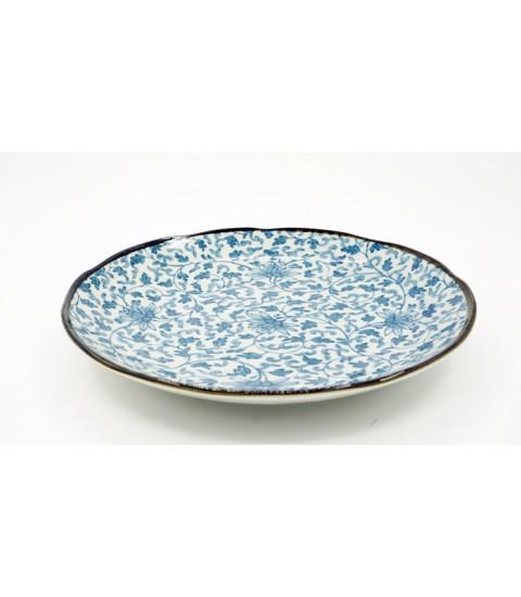 Đĩa ceramic viền nâu mẫu hoa văn cao cấp.