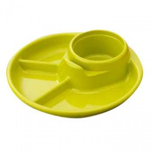 Khay ăn 3 ngăn cho bé có kèm khay để cốc, thìa dĩa - màu xanh