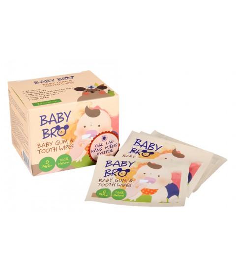 Hộp 25 miếng gạc vệ sinh răng miệng trẻ em Baby Bro