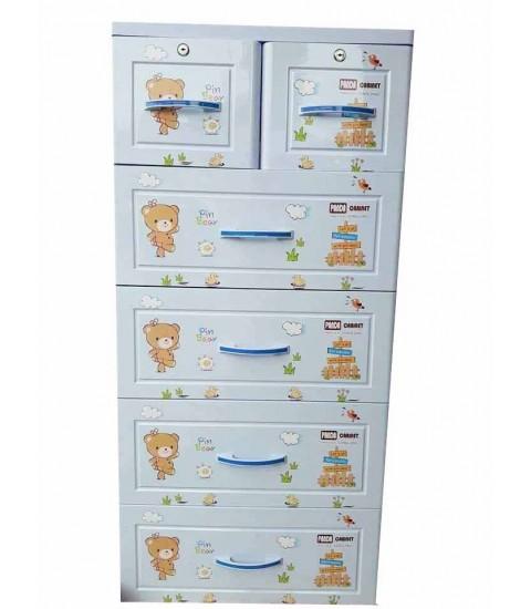 Tủ nhựa hoạt hình Song Long 5 tầng 6 ngăn - Hình gấu màu xanh dương