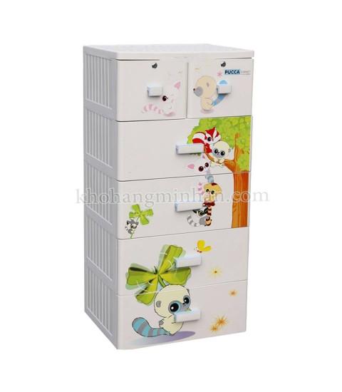 Tủ nhựa hoạt hình Song Long 5 tầng 6 ngăn - Hình con sóc màu trắng