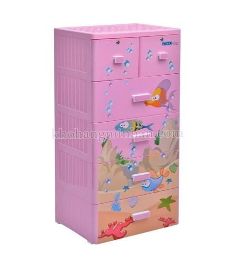 Tủ nhựa hoạt hình Song Long 5 tầng 6 ngăn - Hình con cá màu hồng