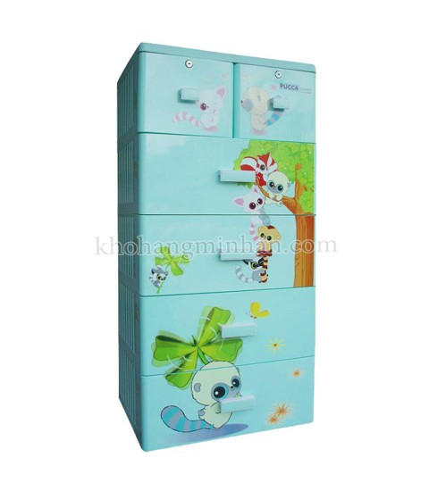 Tủ nhựa hoạt hình Song Long 5 tầng 6 ngăn - Hình con sóc màu xanh cốm