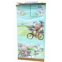 Tủ nhựa hoạt hình Song Long 5 tầng 6 ngăn - Hình gấu đạp xe màu xanh cốm