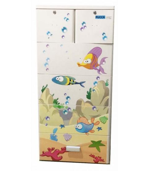Tủ nhựa hoạt hình Song Long 5 tầng 6 ngăn - Hình con cá màu trắng