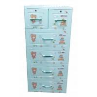 Tủ nhựa hoạt hình Song Long 5 tầng 6 ngăn - Hình gấu  màu xanh cốm