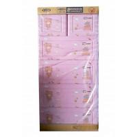 Tủ nhựa hoạt hình Song Long 5 tầng 6 ngăn - Hình gấu màu hồng