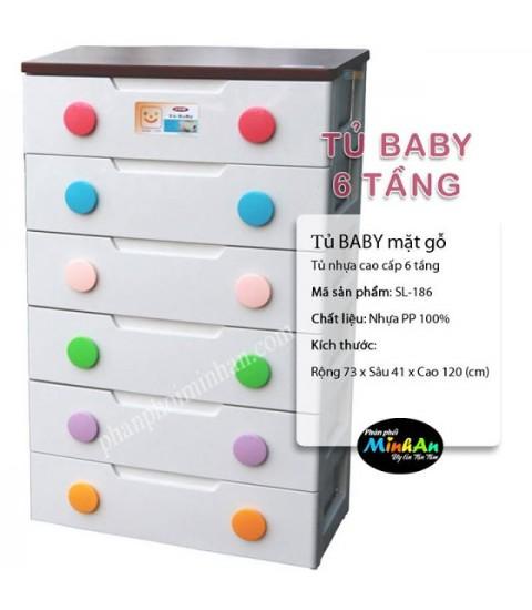 Tủ nhựa Baby 6 tầng màu trắng