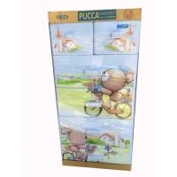 Tủ nhựa hoạt hình Song Long 5 tầng 6 ngăn - Hình gấu đạp xe màu xanh dương