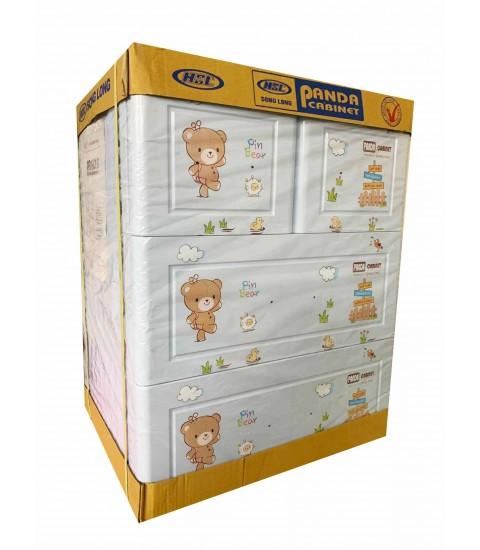 Tủ nhựa hoạt hình Song Long 3 tầng 4 ngăn - Hình con gấu xanh dương