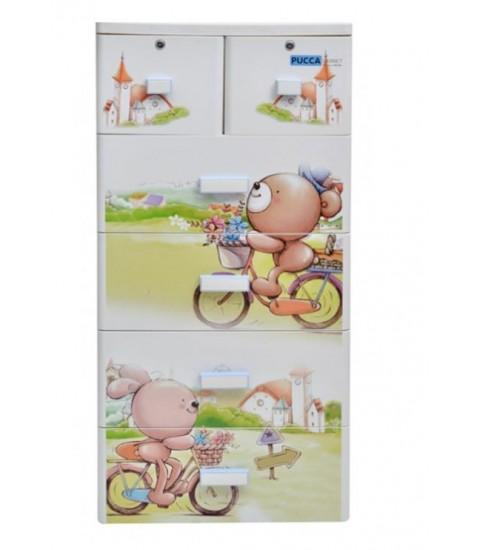 Tủ nhựa hoạt hình Song Long 5 tầng 6 ngăn - Hình gấu đạp xe màu trắng
