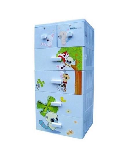 Tủ nhựa hoạt hình Song Long 5 tầng 6 ngăn - Hình con sóc màu xanh dương