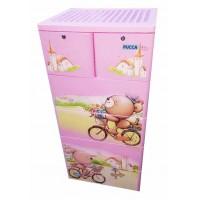 Tủ nhựa hoạt hình Song Long 5 tầng 6 ngăn - Hình gấu đạp xe màu hồng