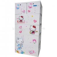 Tủ nhựa hoạt hình Song Long 5 tầng 6 ngăn - Hình Kitty màu trắng