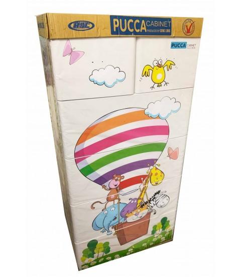 Tủ nhựa hoạt hình Song Long 5 tầng 6 ngăn - Hình khí cầu màu trắng