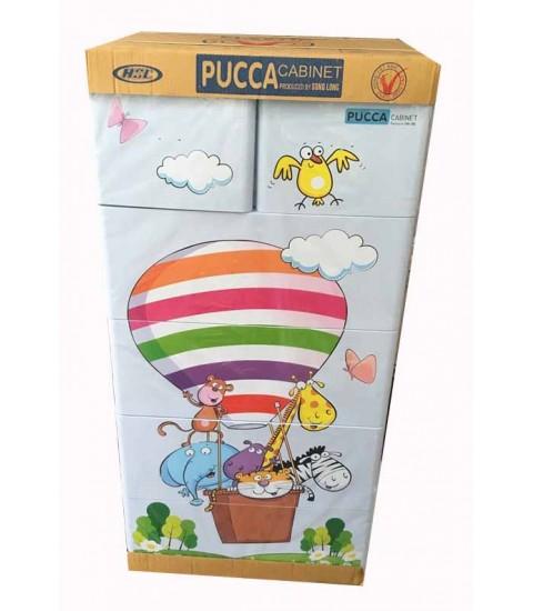 Tủ nhựa hoạt hình Song Long 5 tầng 6 ngăn - Hình khí cầu màu xanh dương