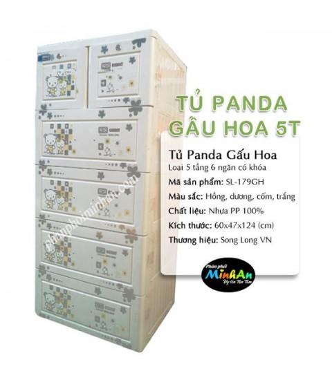 Tủ nhựa hoạt hình Song Long 5 tầng 6 ngăn - Hình gấu hoa màu trắng