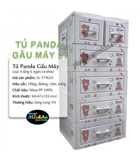 Tủ nhựa hoạt hình Song Long 5 tầng 6 ngăn - Hình gấu màu trắng