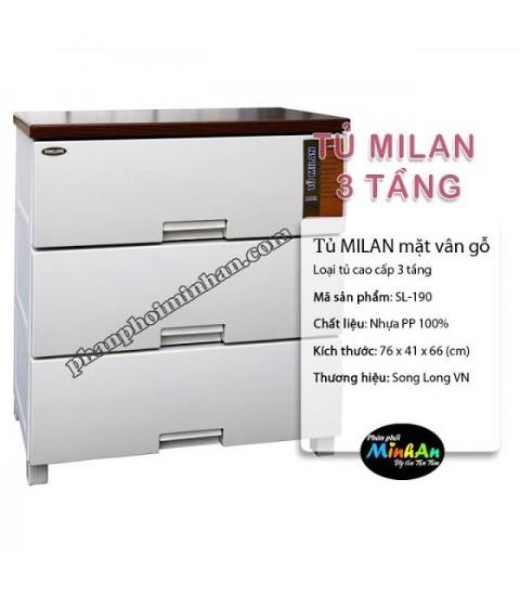 Tủ nhựa Milan 3 tầng màu trắng