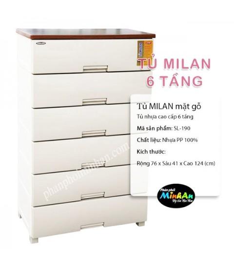 Tủ nhựa Milan 6 tầng màu trắng