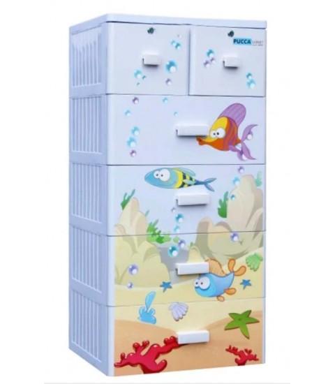 Tủ nhựa hoạt hình Song Long 5 tầng 6 ngăn - Hình con cá màu xanh dương