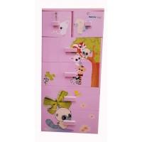 Tủ nhựa hoạt hình Song Long 5 tầng 6 ngăn - Hình con sóc màu hồng
