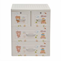 Tủ nhựa hoạt hình Song Long 3 tầng 4 ngăn - Hình con gấu màu trắng