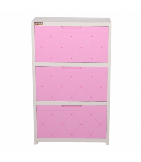 Tủ giày nhựa Song long SL581 - 3 tầng  màu hồng